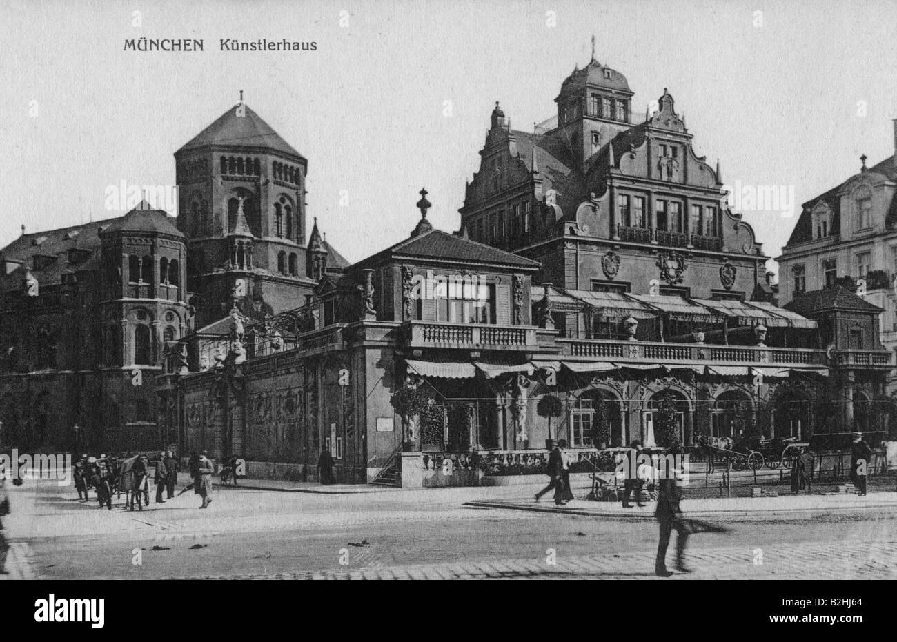 geography/travel, Germany, Munich,Lenbachplatz, Künstlerhaus and Synagogue, postcard, circa 1905, Additional - Stock Image