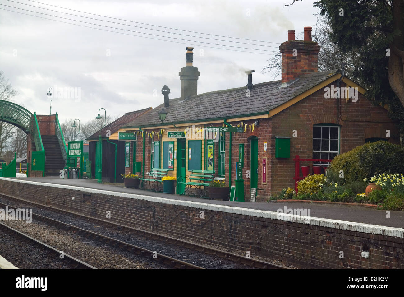 Medstead and Four Marks railway station part of the Watercress Line which is a line dedicated to steam trains Stock Photo