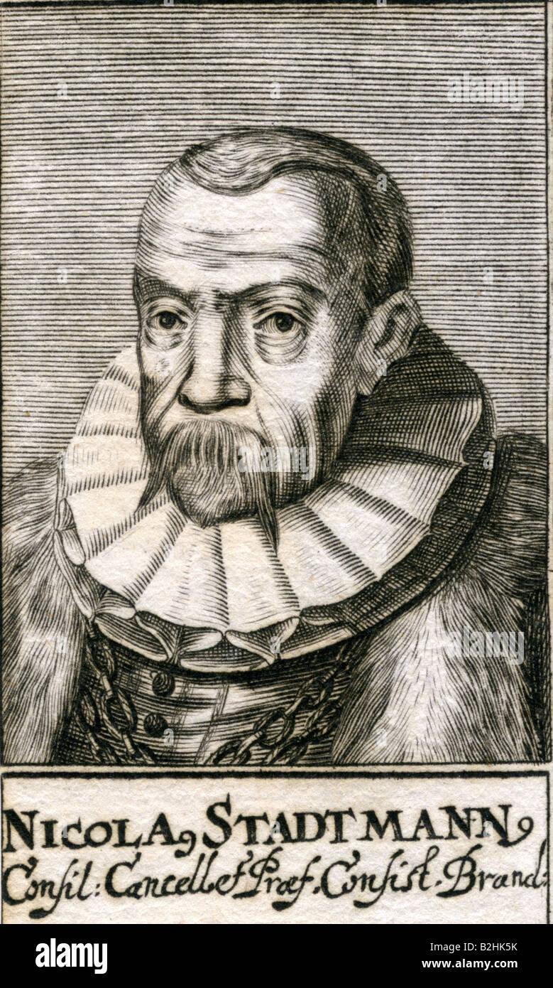 Stadtmann, Nikolaus, 18.2.1531 - 1607, German politician, Privy Councillor, engraving, 17th century, Artist's - Stock Image
