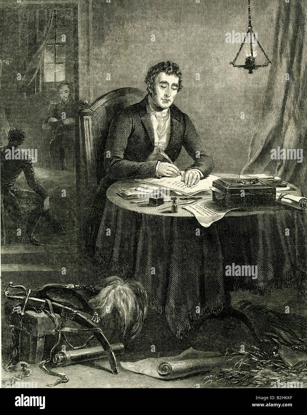 Wellington, Arthur Wellesley, 1st Duke of Wellington, 1.5.1769 - 14.9.1852, British politician, half length, after - Stock Image