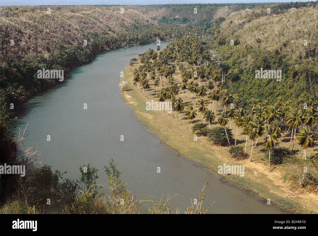 geography / travel, Dominican Republic, landscapes, rivers, Rio Dolce, La Romana, aerial view, Central America, - Stock Image