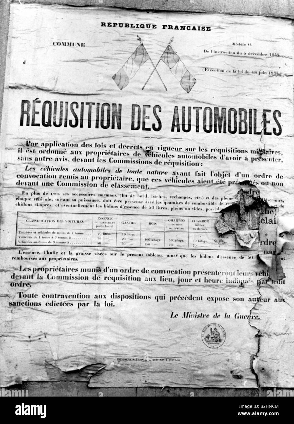 events, Second World War / WWII, France, poster, announcment of the requisition of motorcars by the French Ministry - Stock Image