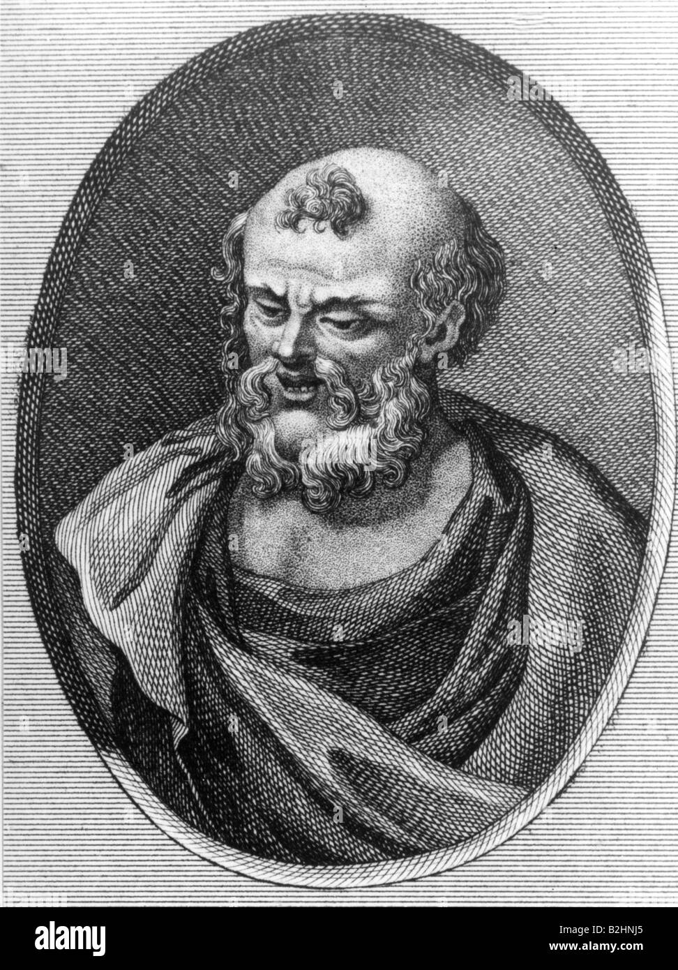 Democritus of Abdera, circa 465 - 365 BC, Greek philosopher, portrait, copper engraving, after bust, 3rd century, - Stock Image