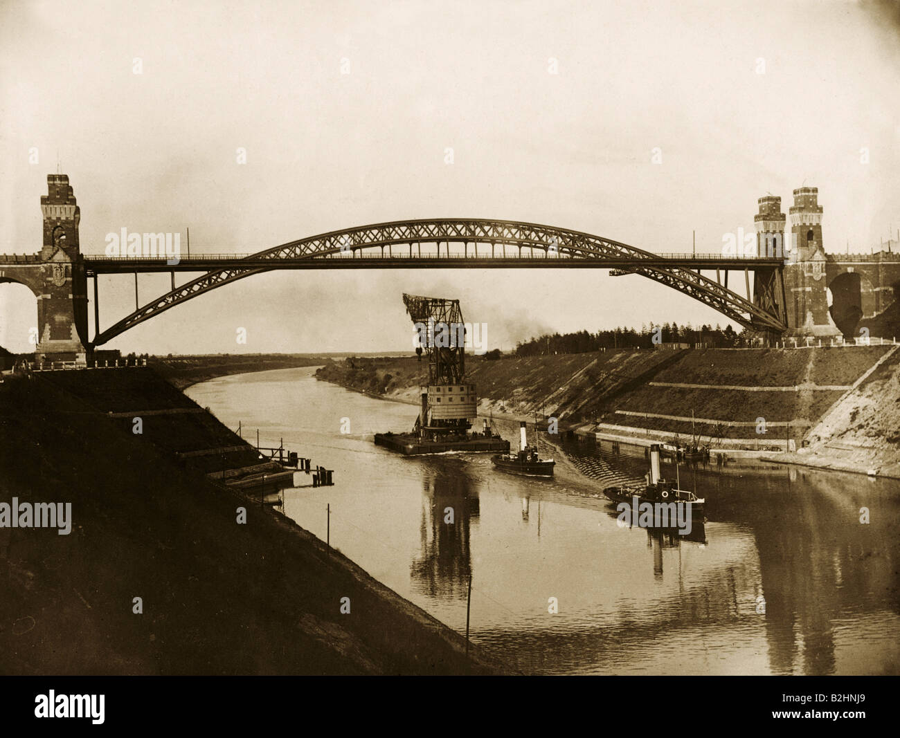architecture, bridges, railway bridge over Kaiser-Wilhelm-Kanal near Gruenental, built 1893 - 1894, view, circa - Stock Image