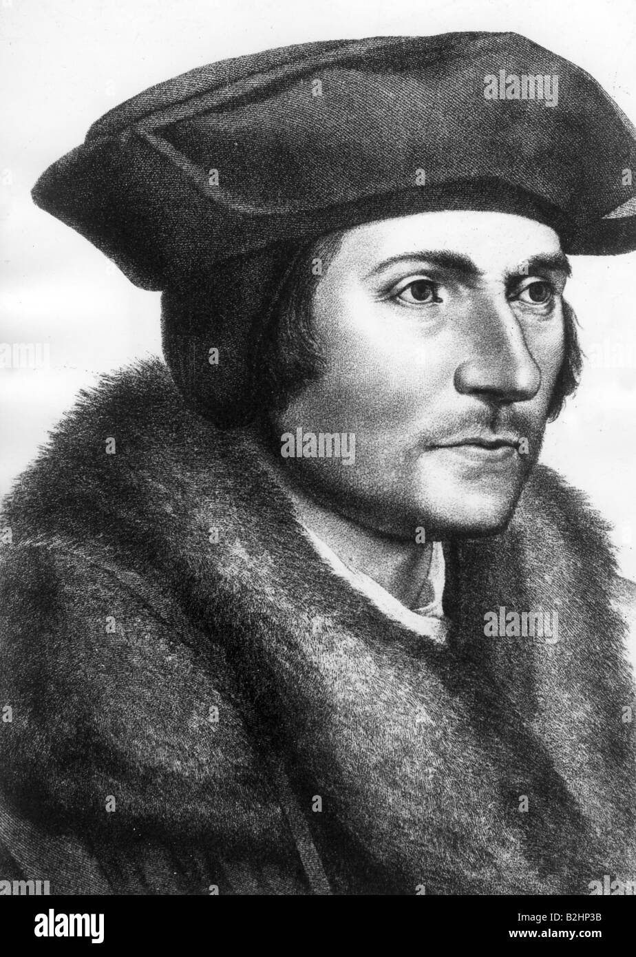More, Thomas Sir, 7.2.1478 - 6.7.1535, English politician and humanist, portrait, engraving after painting, 16th - Stock Image