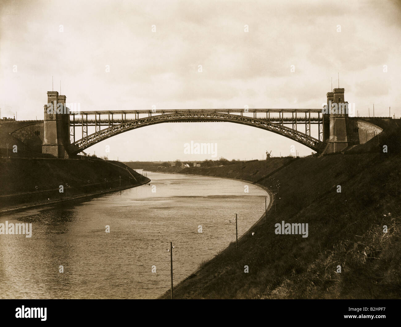 architecture, bridges, railway bridge over Kaiser-Wilhelm-Kanal near Levensau, built 1893 - 1894, view, circa 1895, - Stock Image