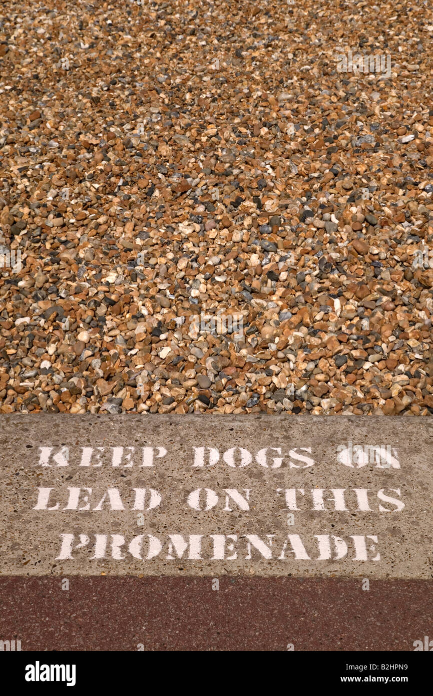 Keep dogs on lead sign stencilled on a pavement besides a beach - Stock Image