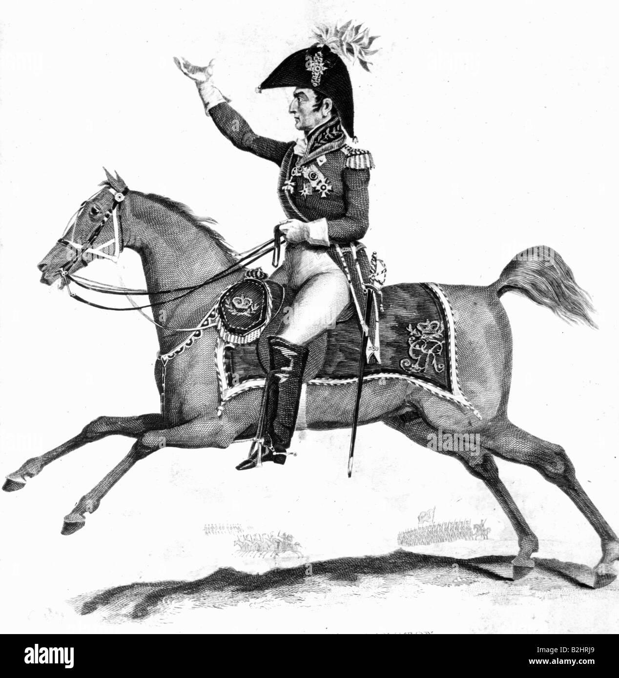 Wellington, Arthur Wellesley Duke of, 1.5.1769 - 14.9.1852, British General and politician, equestrian half length, - Stock Image