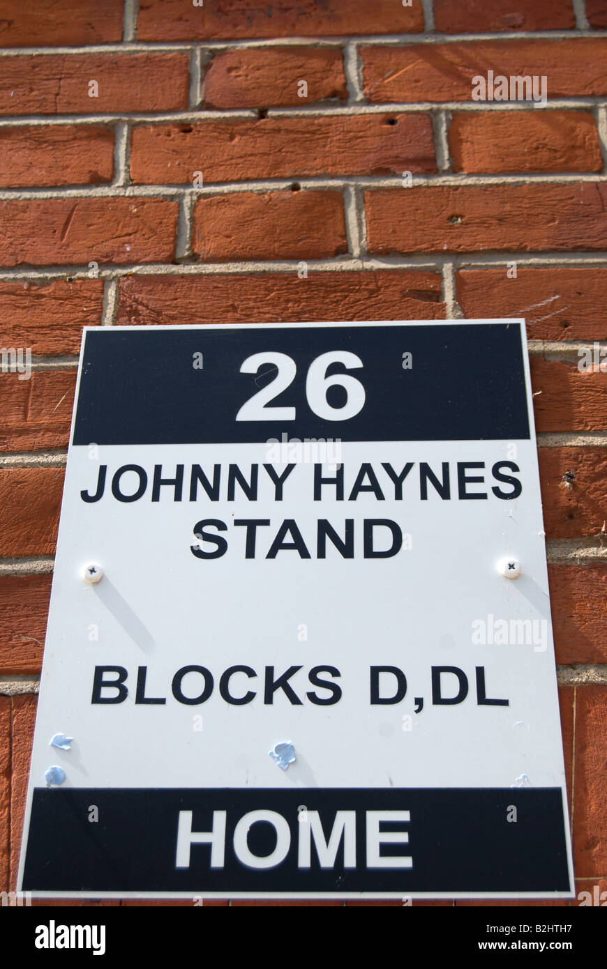 sign for the johnny haynes stand at craven cottage, home of fulham football club, southwest london, england - Stock Image
