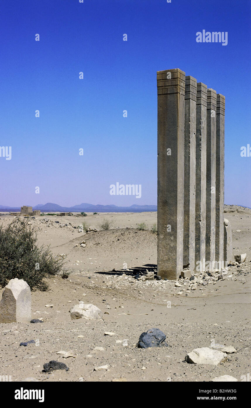 geography / travel, Yemen, Marib, temple of moon, five pylons, moon cult, ruin, excavations, - Stock Image