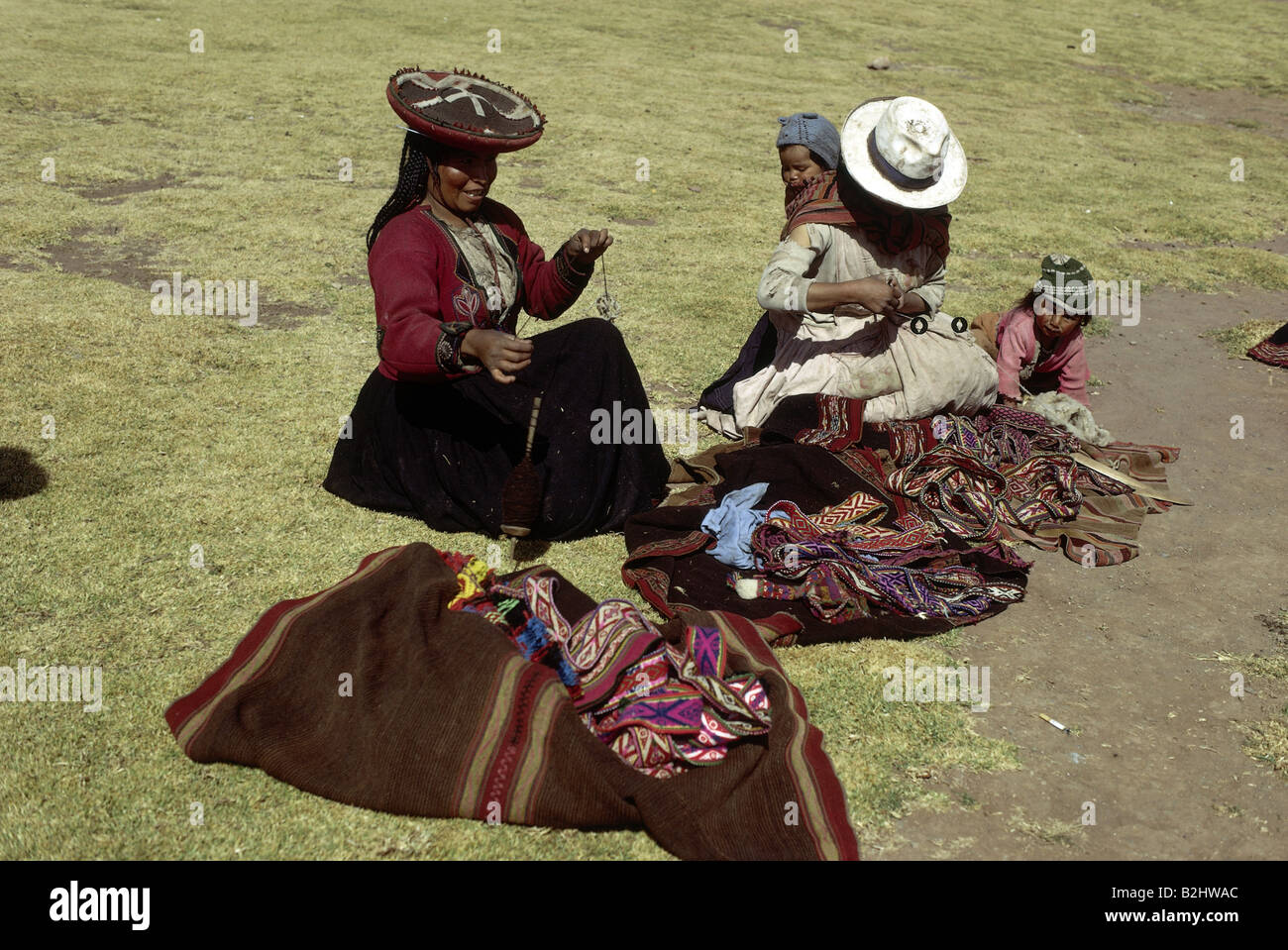 people, mothers with children, Peru, two women and infants, Titicacasee, ethnic, ethnology, South America, child, - Stock Image