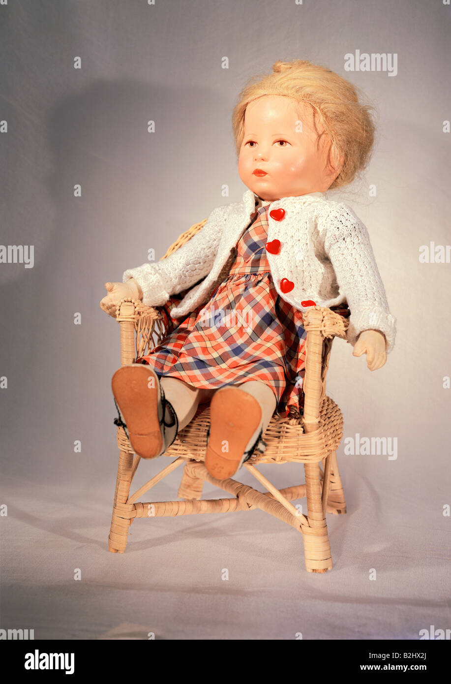toys, dolls, 'Hampelchen', by Kaethe Kruse (1883 - 1968), height 45 cm, Germany, early 1930s, Munich doll - Stock Image