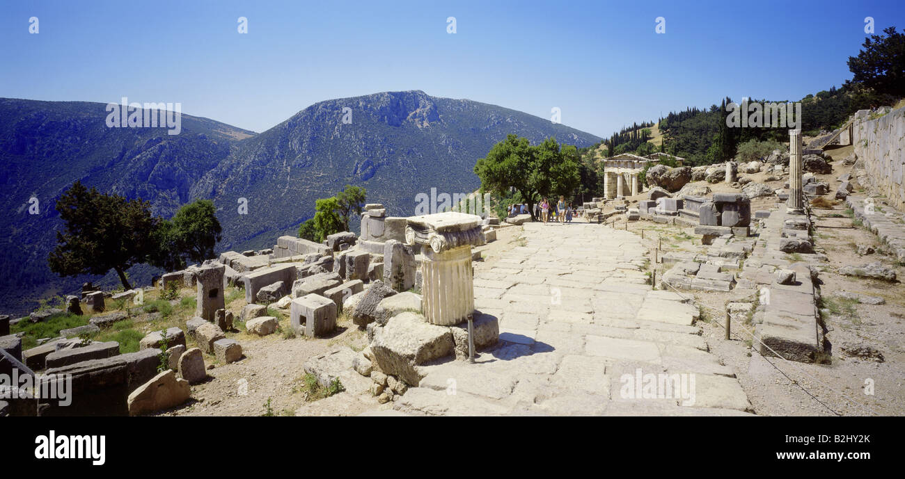 geography / travel, Greece, Delphi, excavations, panoramic view, archaeological excavation, column, ruin, temple, Stock Photo