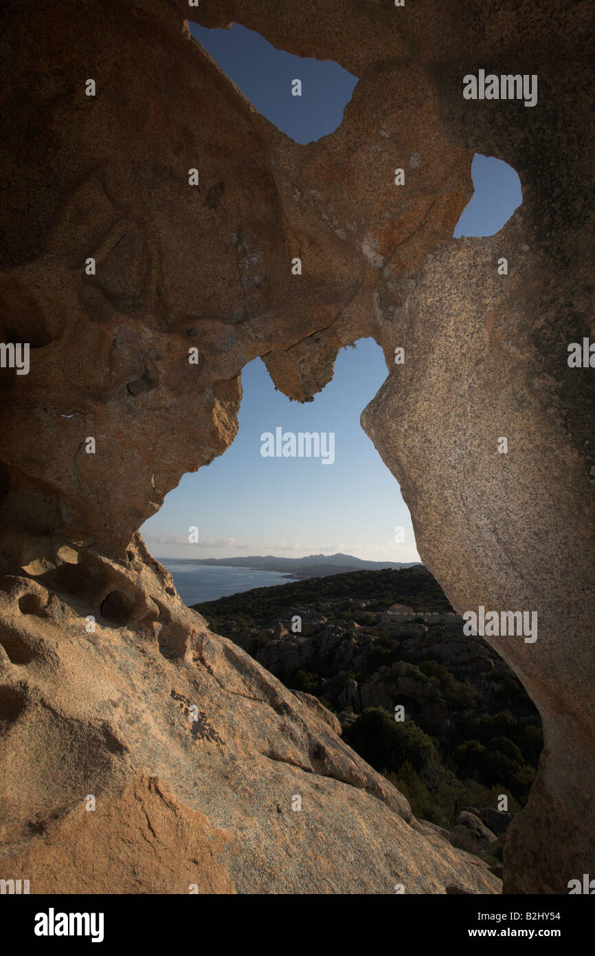 Stone Arch caost Sardinia Italy Mediterranean Stock Photo