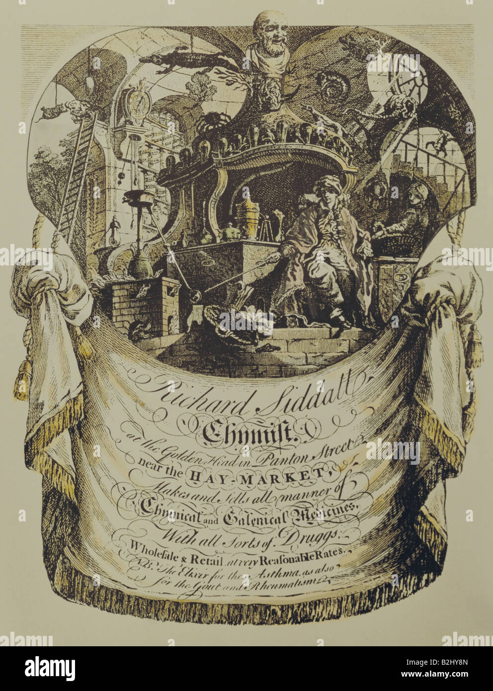 alchemy, alchemists, business card of the chemist Richard Siddall, Copper engraving by L. Clee, Great Britain, 2nd - Stock Image