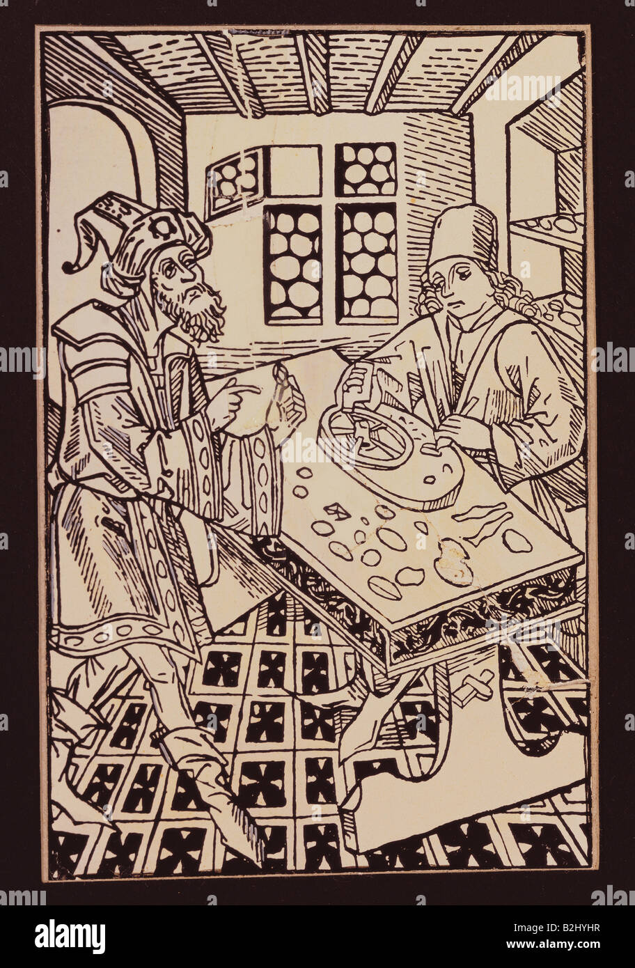 trade, merchants, oriental gem merchant and stone cutter, woodcut, Germany, circa 1490, Additional-Rights-Clearances - Stock Image