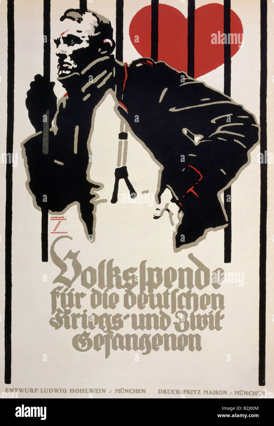 geography / travel, Germany, politics, appeal for funds to support the German prisoners of war, poster, by Ludwig - Stock Image