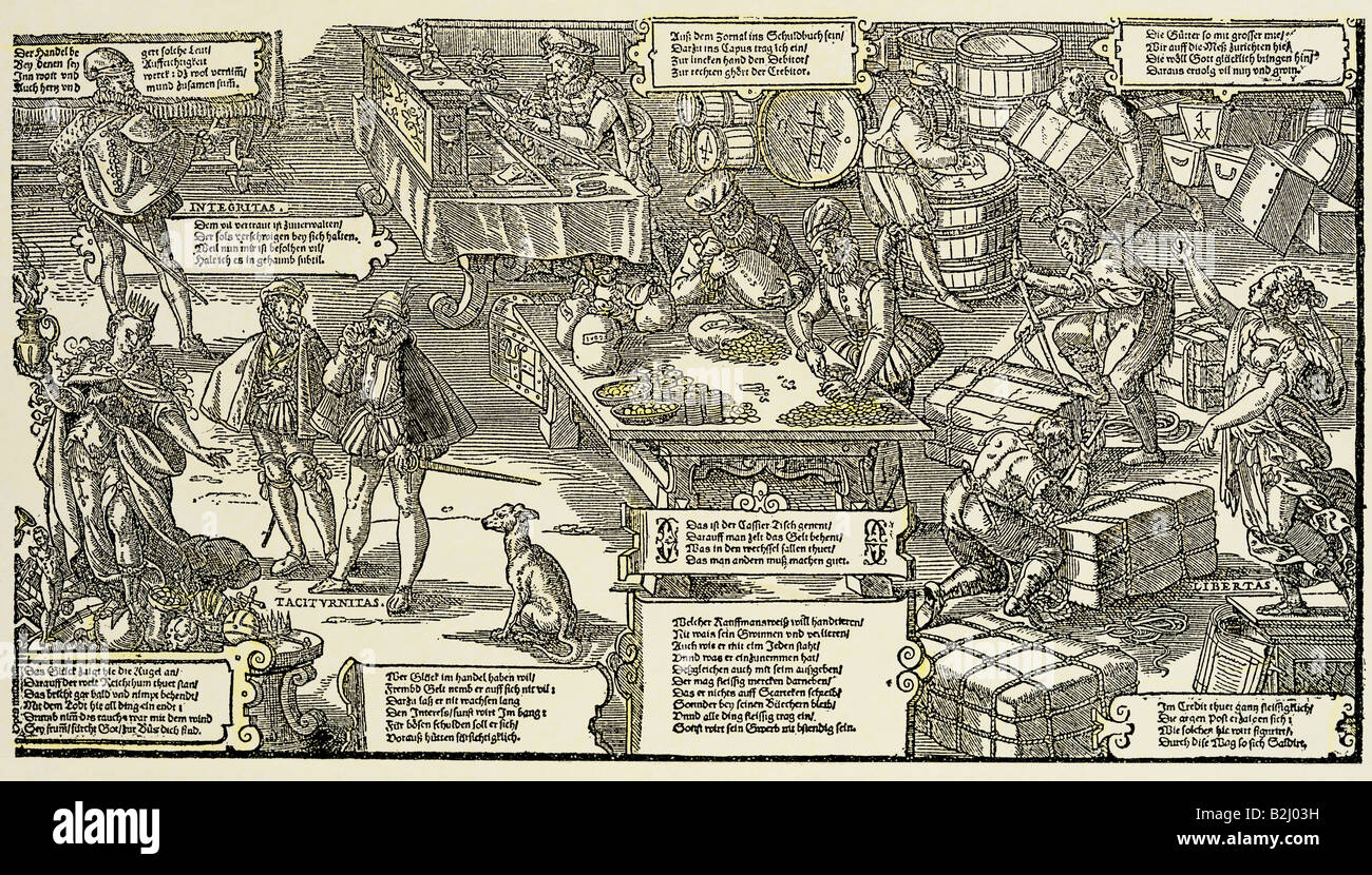 trade, activities of a merchant, woodcut, by Jost Amman, Germany, second half of the 16th century, historic, historical, - Stock Image