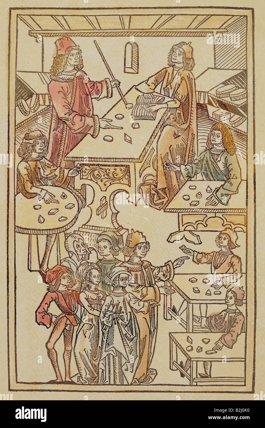trade, merchants, gem merchant, woodcut, coloured, from 'Hortus Sanitatis', Mainz, Germany, 1491, Additional - Stock Image