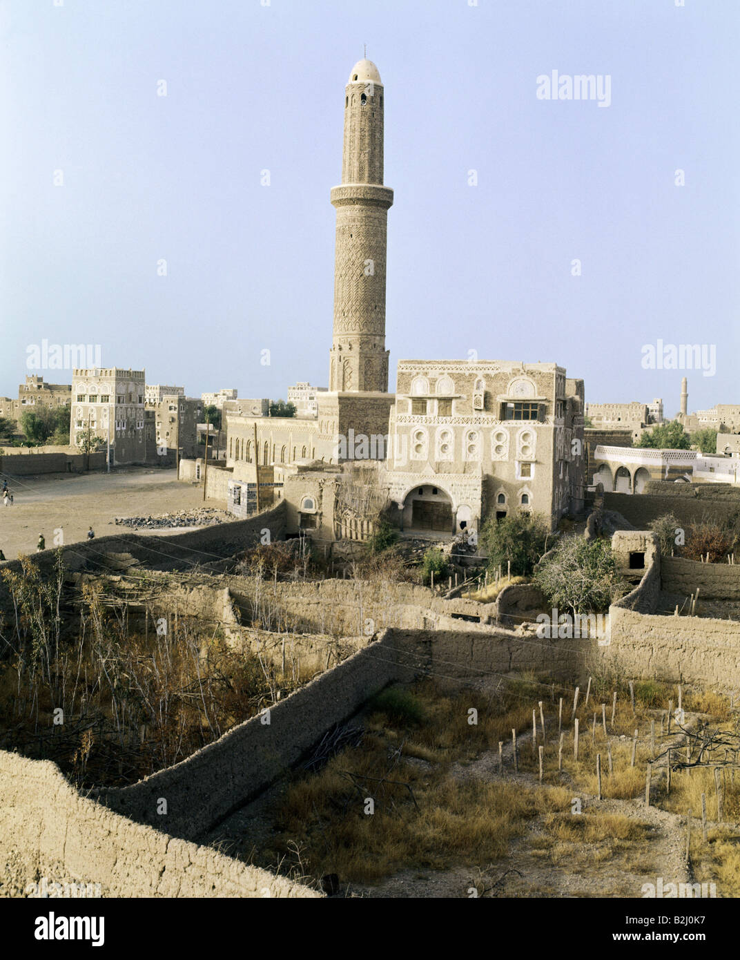 geography / travel, Yemen, Sanaa, mosque, northern, minaret, islam, capital, UNESCO World Cultural Heritage Site - Stock Image