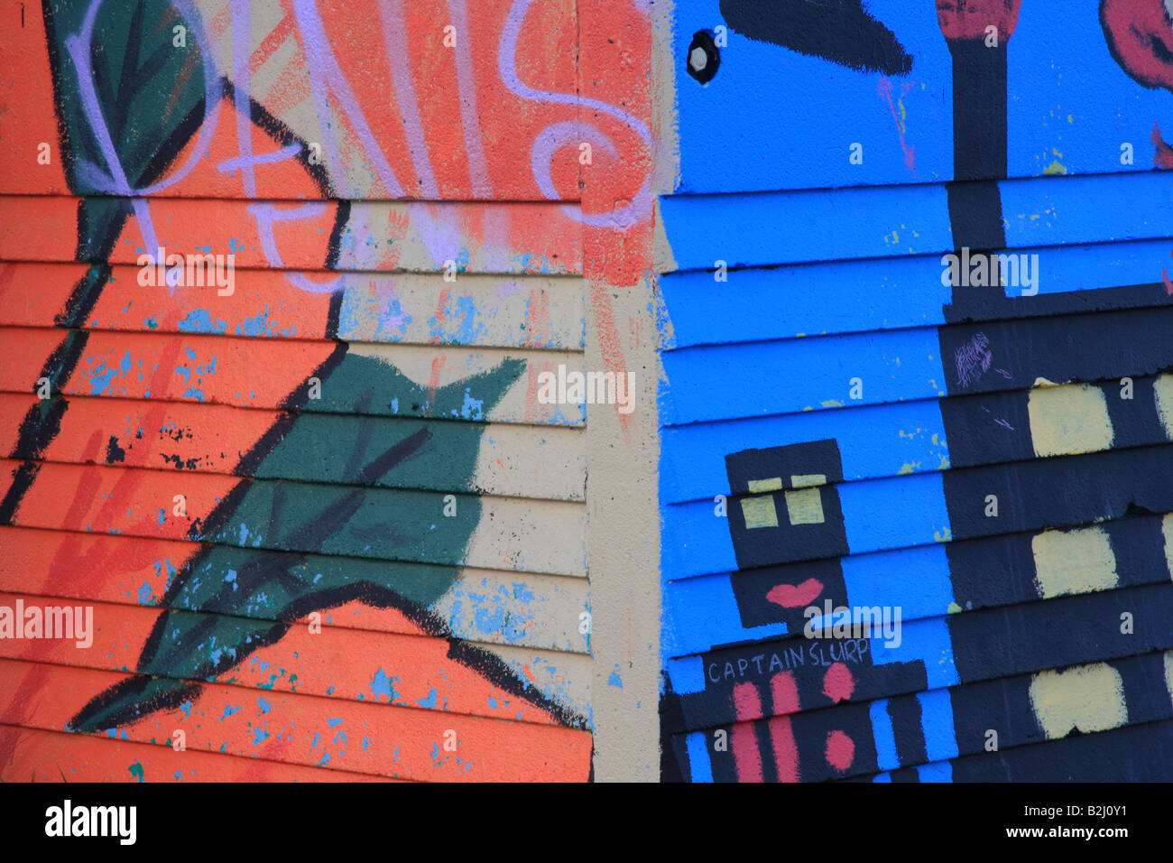 Graffiti in the Nose Hill park, Calgary, Alberta - Stock Image