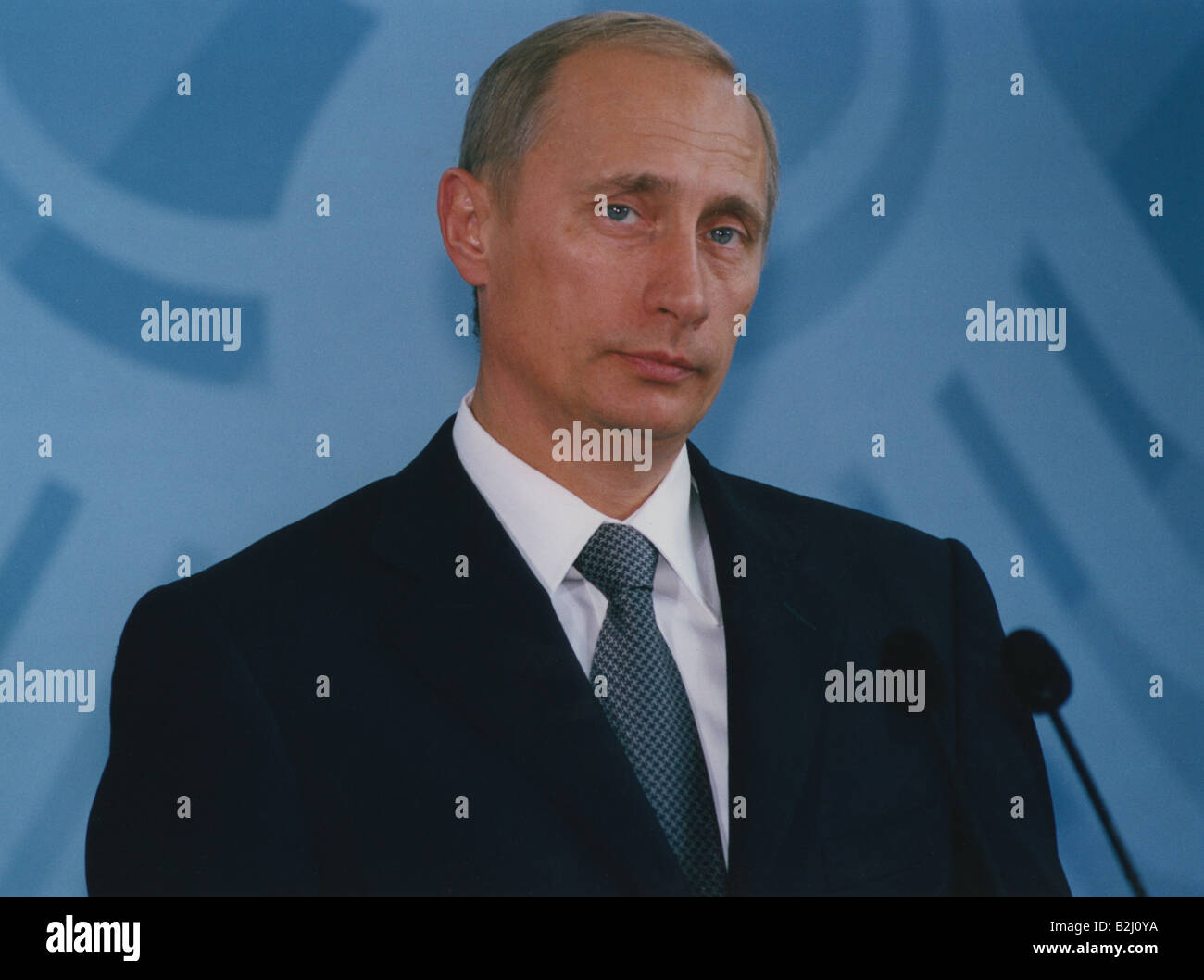 Putin, Vladimir, * 7.10.1952, Russian politician, president of Russia since 2000, portrait, press conference, Federal Stock Photo
