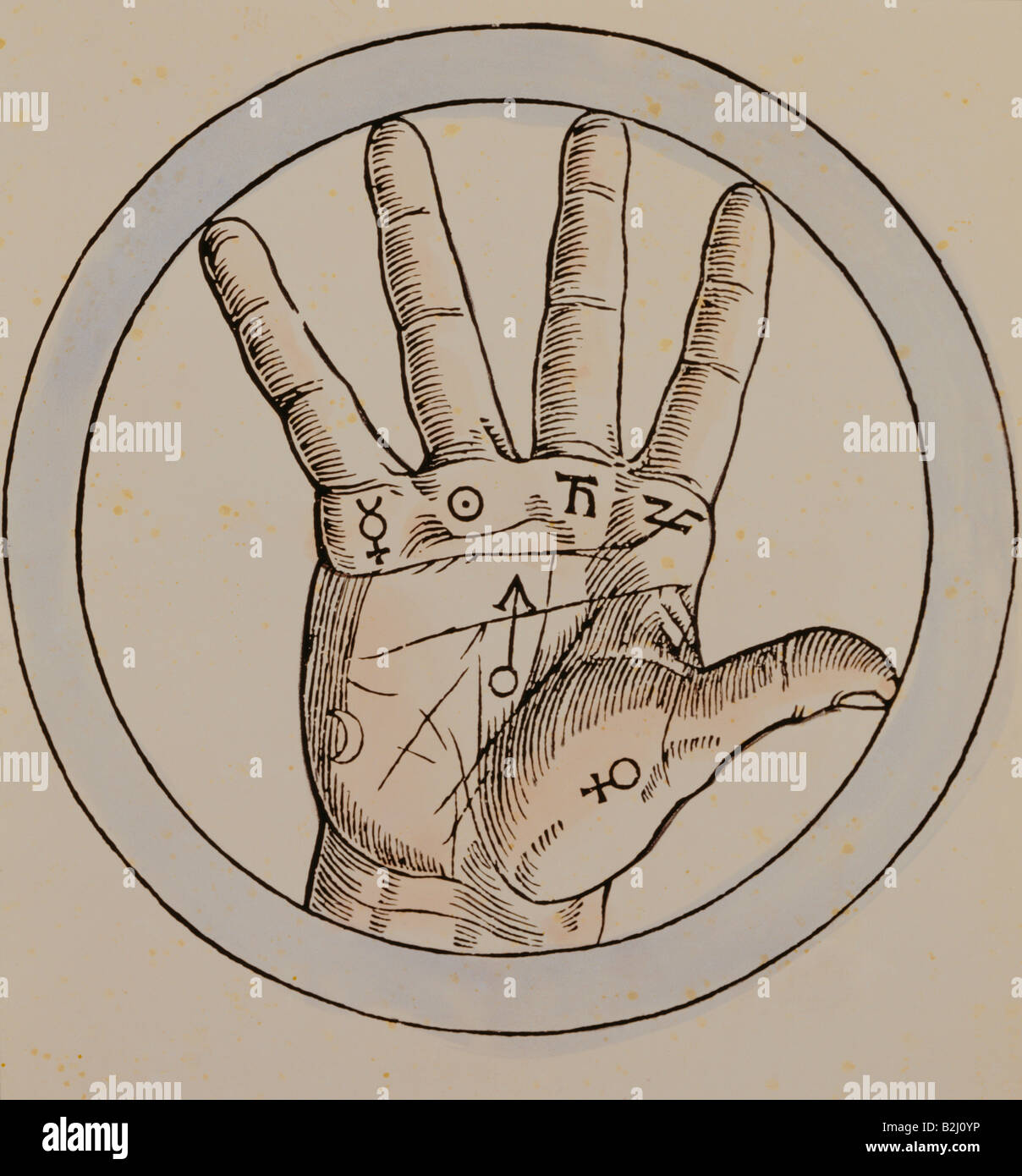 superstition, chiromancy, hand as microcosmic analogy to the planets, by Agrippa von Nettelsheim (1486 - 1535), - Stock Image