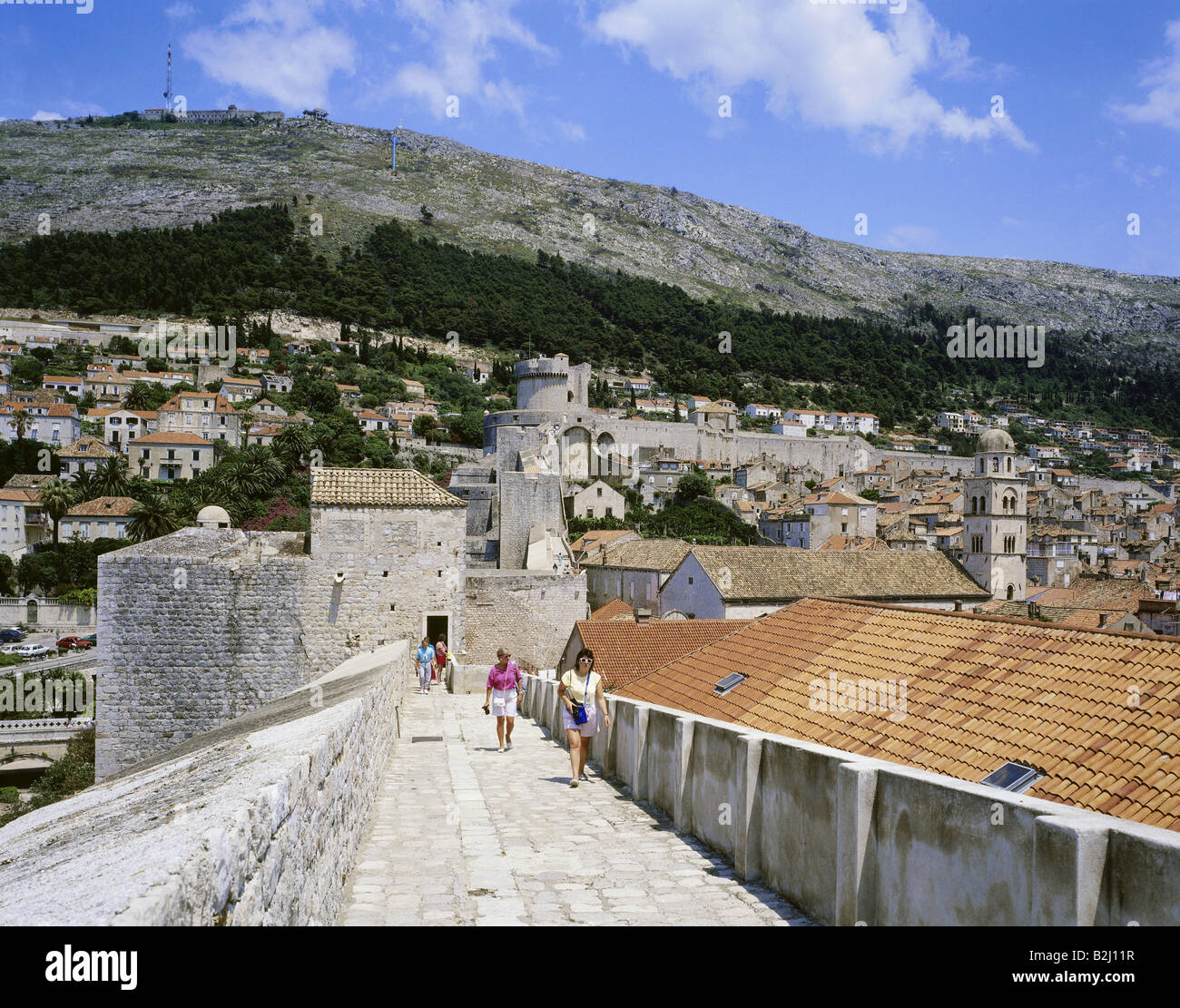 geography / travel, Croatia, Dubrovnic, overviews, city wall, roofs, roof, fortress, overview, view, gate Stock Photo