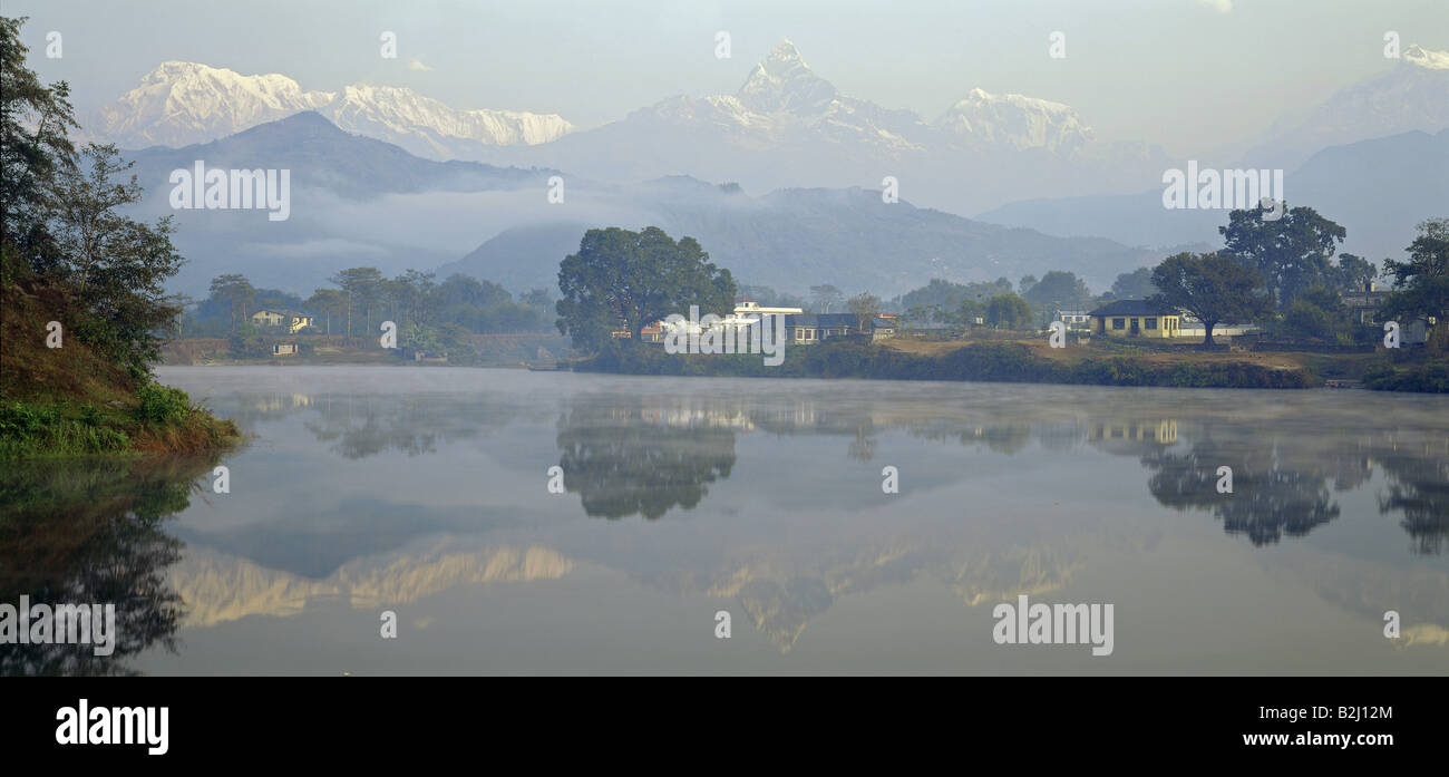 geography / travel, Nepal, landscapes, Pokhara, Lake Phewa, southern Annapurna, mountains, mountain, Annapurna, - Stock Image