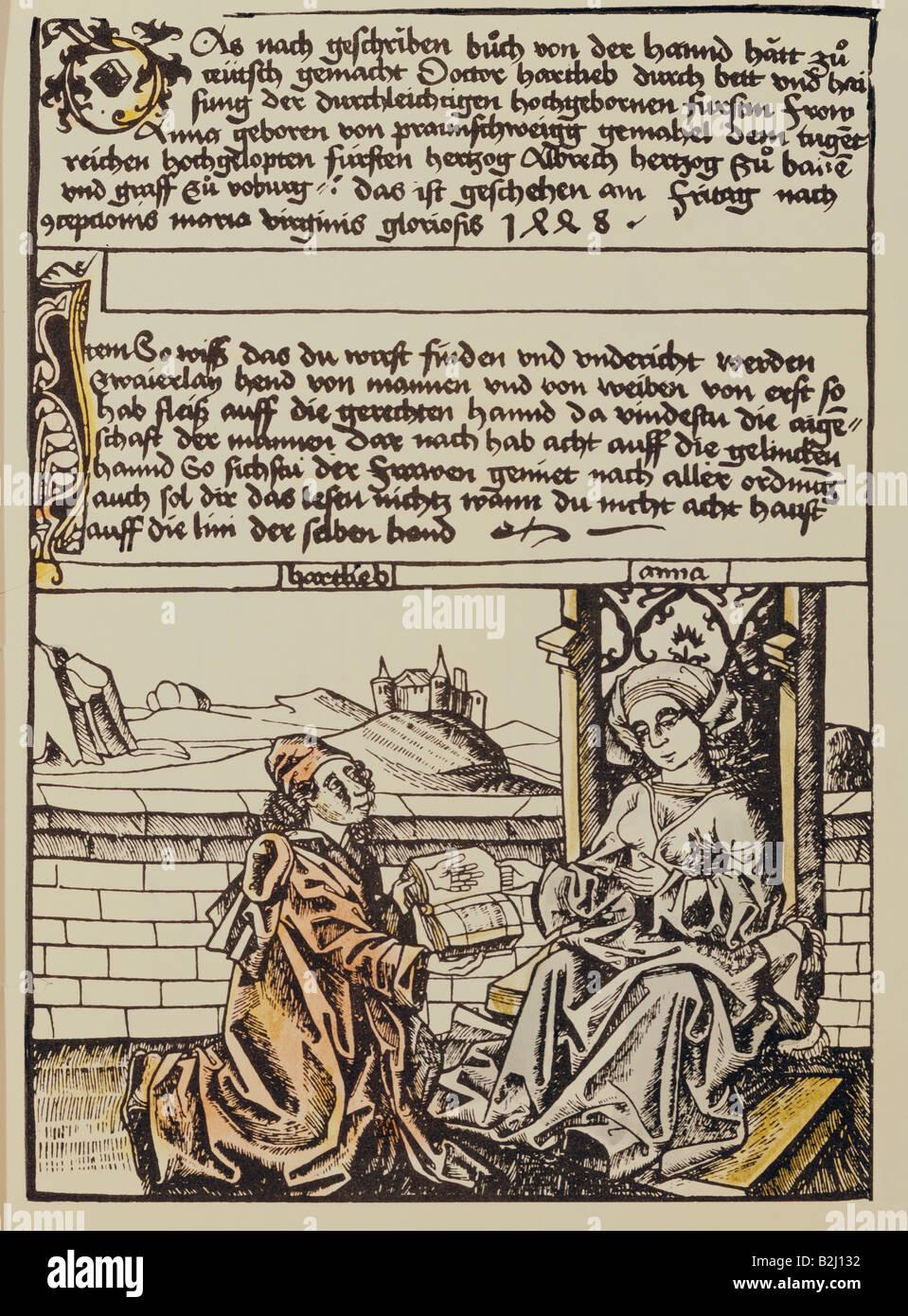superstition, chiromancy, frontispiece, Anna, Duchess of Bavaria, from 'Chiromantie' (Chiromancy),  part - Stock Image