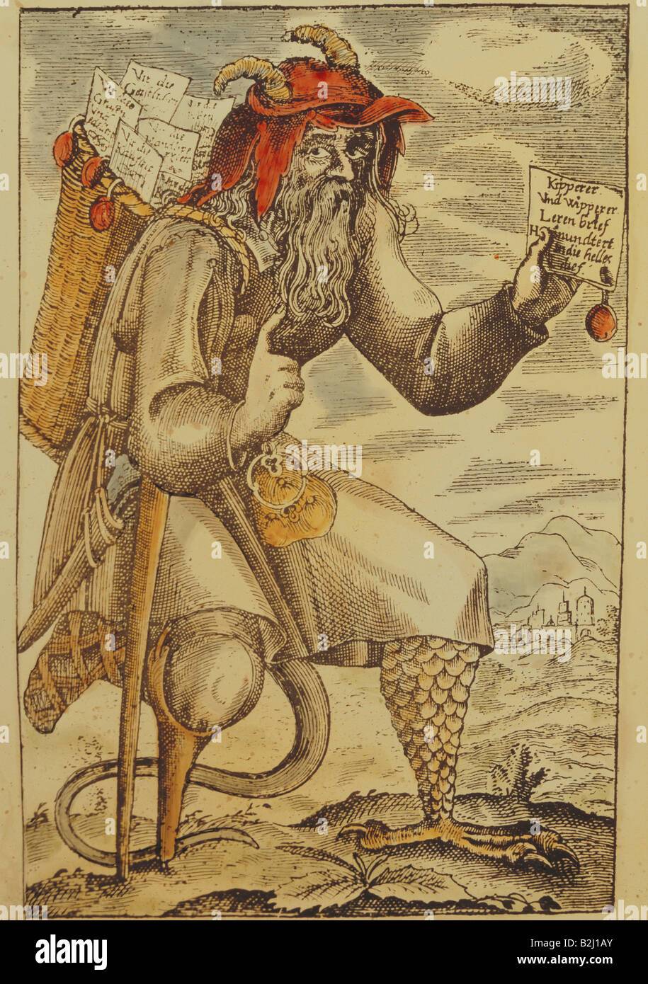 money / finance, counterfeiting, 'Kipperer und Wipperer' (Tipper and See-Saw Time), copper engraving, coloured, - Stock Image