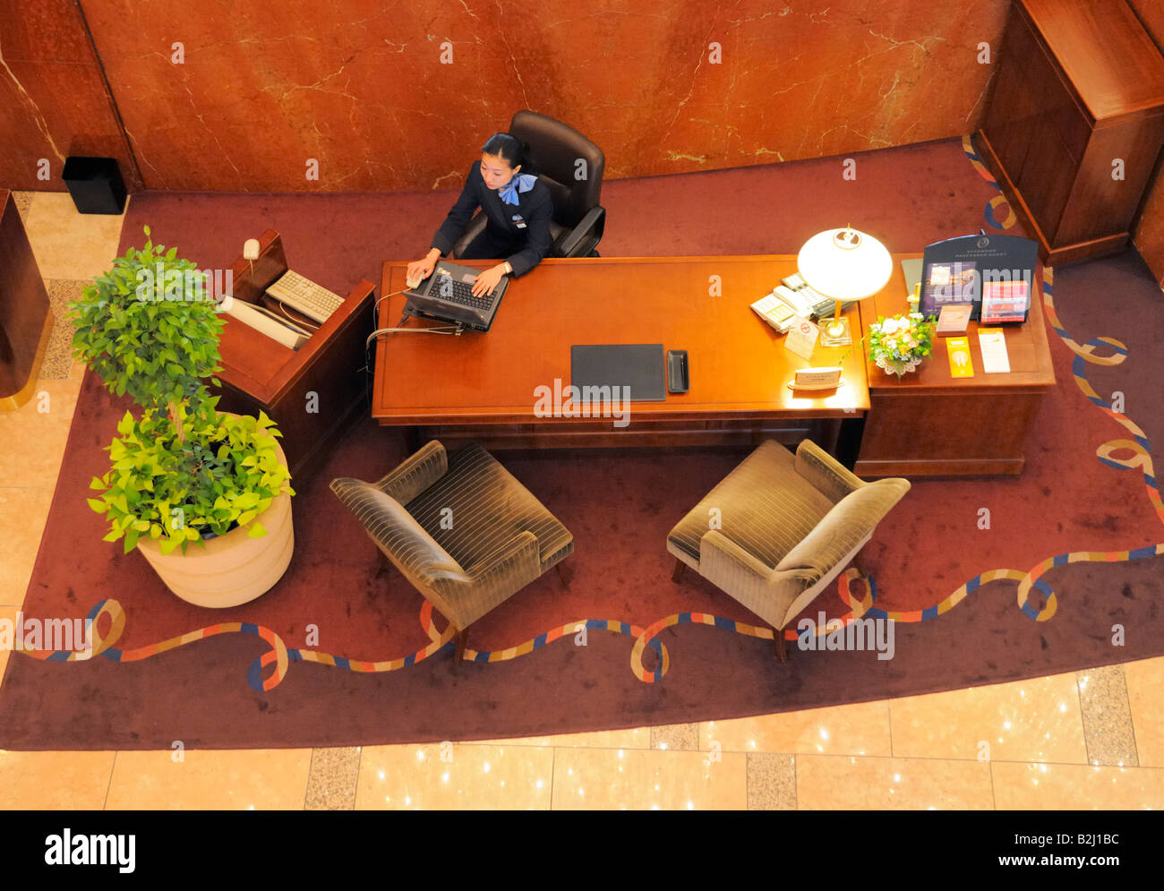 Hotel Front Desk Stock Photo