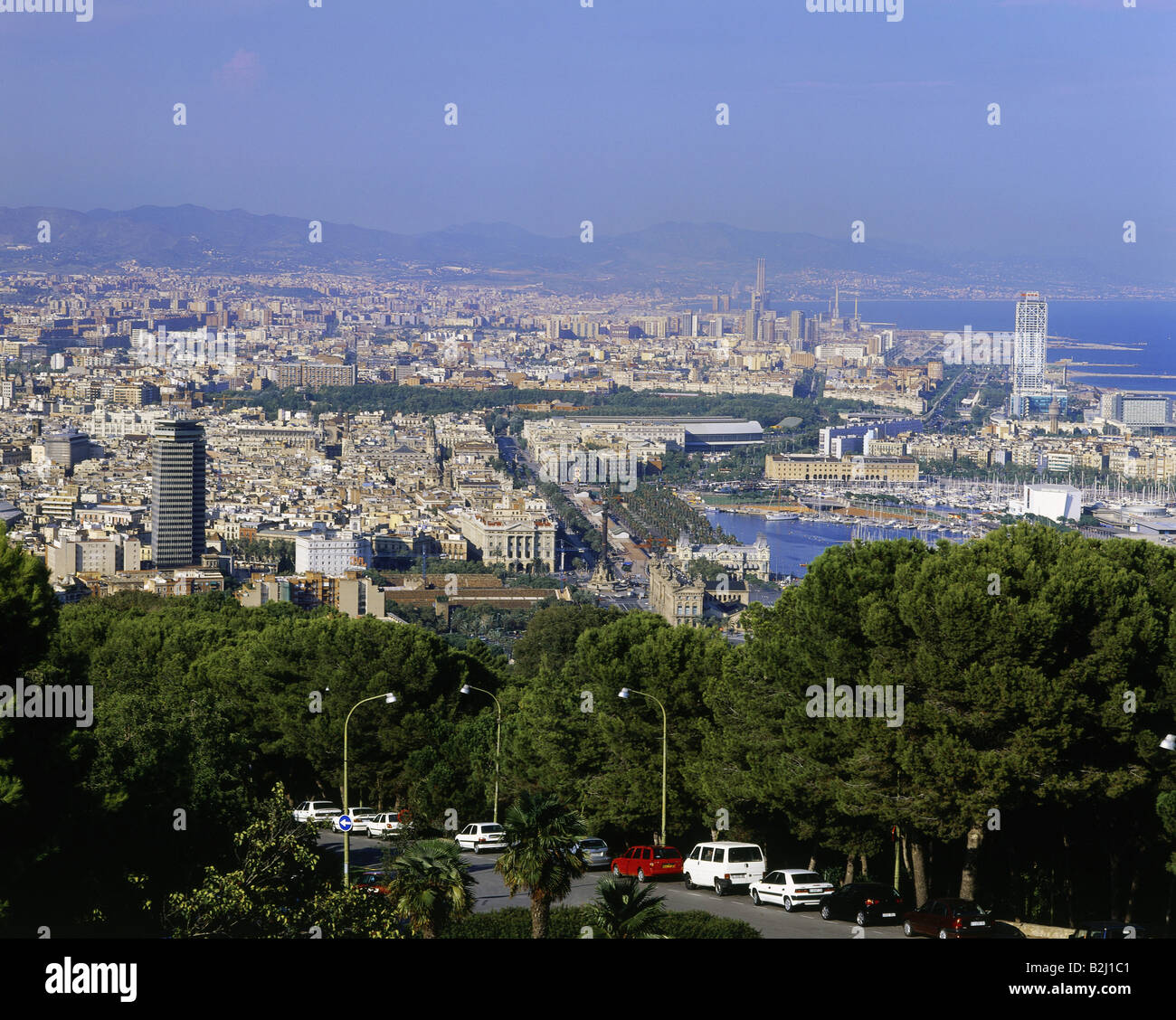 geography / travel, Spain, Barcelona, city views, view from the Montjuic at the town, Catalonia, city view, cityscape, - Stock Image