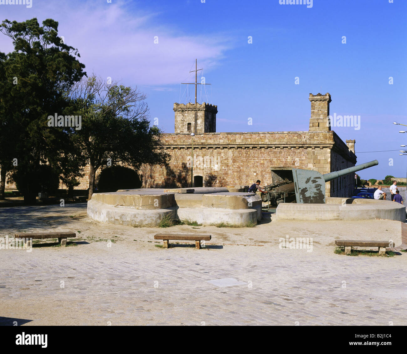 geography / travel, Spain, Barcelona, building, architecture, Castell de Montjuic, Catalonia, castle, fortress, - Stock Image