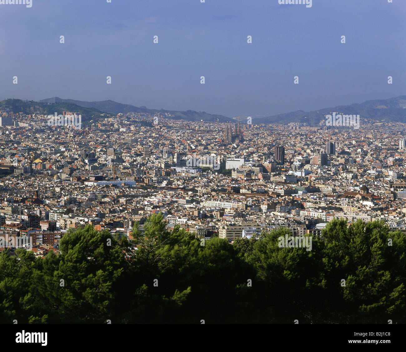 geography / travel, Spain, Barcelona, city views, cityscape view from the Montjuic at the town, Catalonia, mountain, - Stock Image
