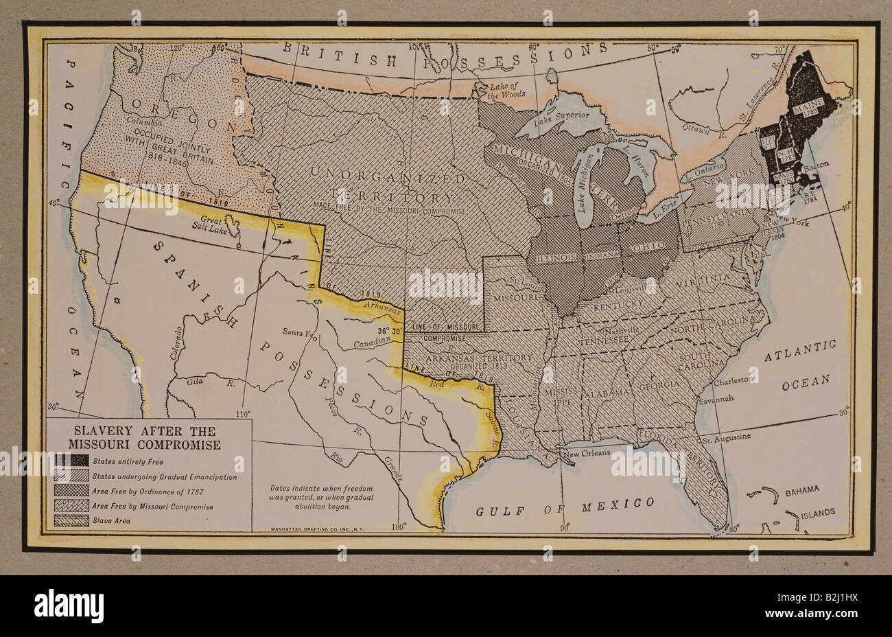 Map Of America 1820.Cartography Map North America Usa Spreading Of Slavery After