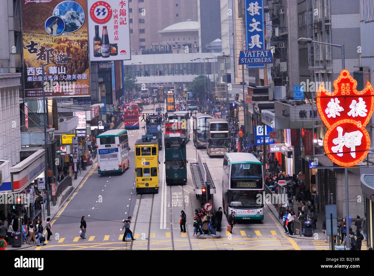 road traffic Des Voeux Road Central Hongkong Downtown Island Hongkong Hong Kong China city Stock Photo