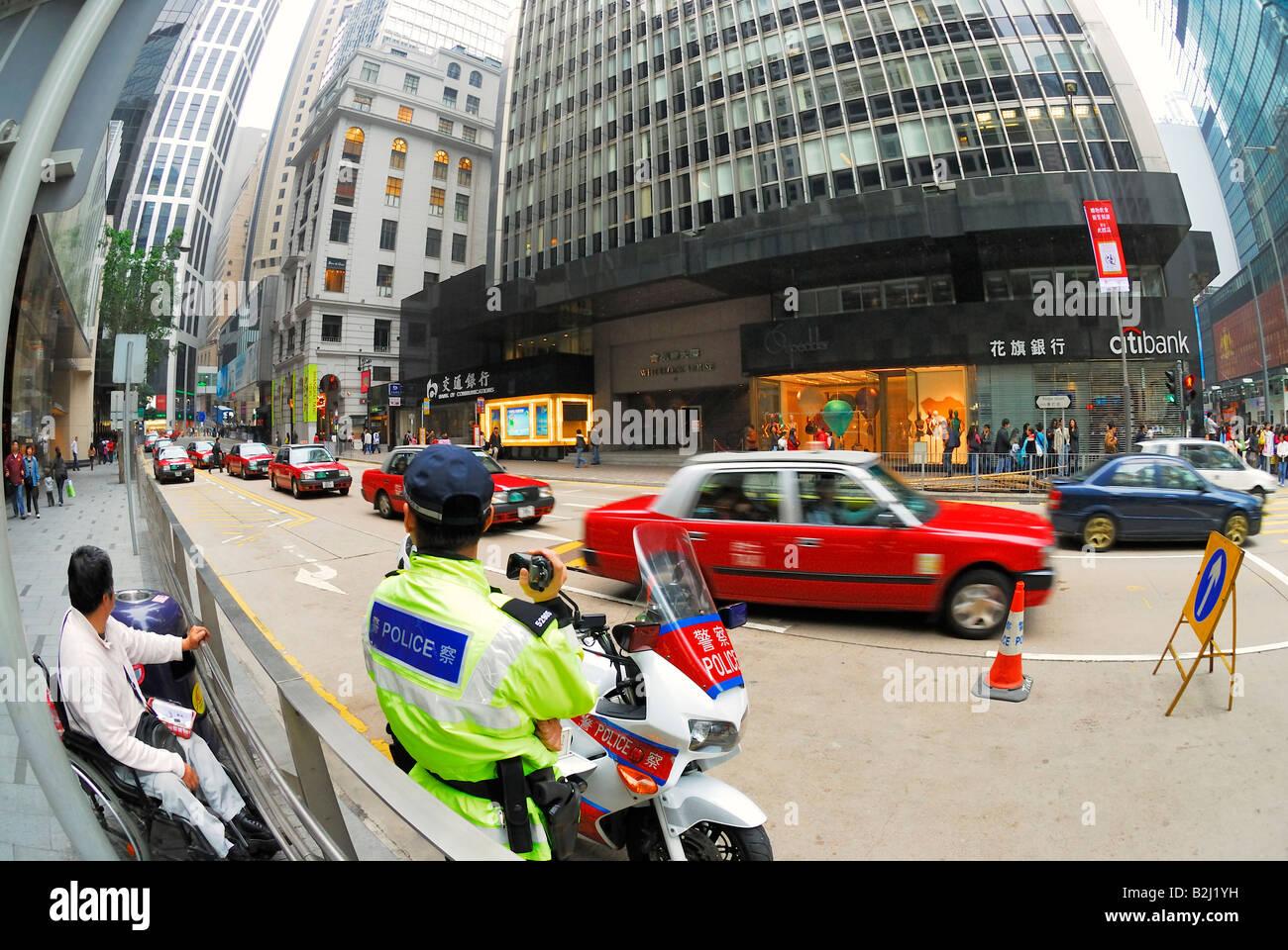 Street Scenery road traffic downtown Hong Kong Hongkong china - Stock Image