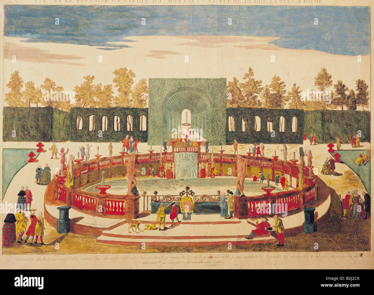 geography / travel, Italy, Rome, fountains, 'Vue de la fontaine du jardin du Montalto au terme de Diocletian - Stock Image
