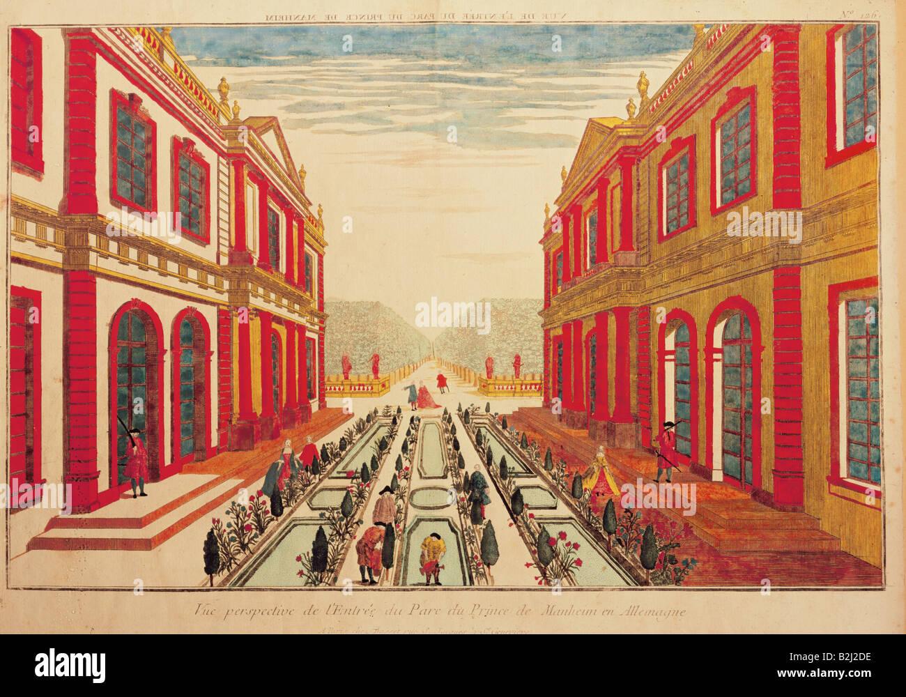 geography / travel, Germany, Mannheim, castles, Graphik, 'Vue perspective de l'Entree du Parc du Prince - Stock Image
