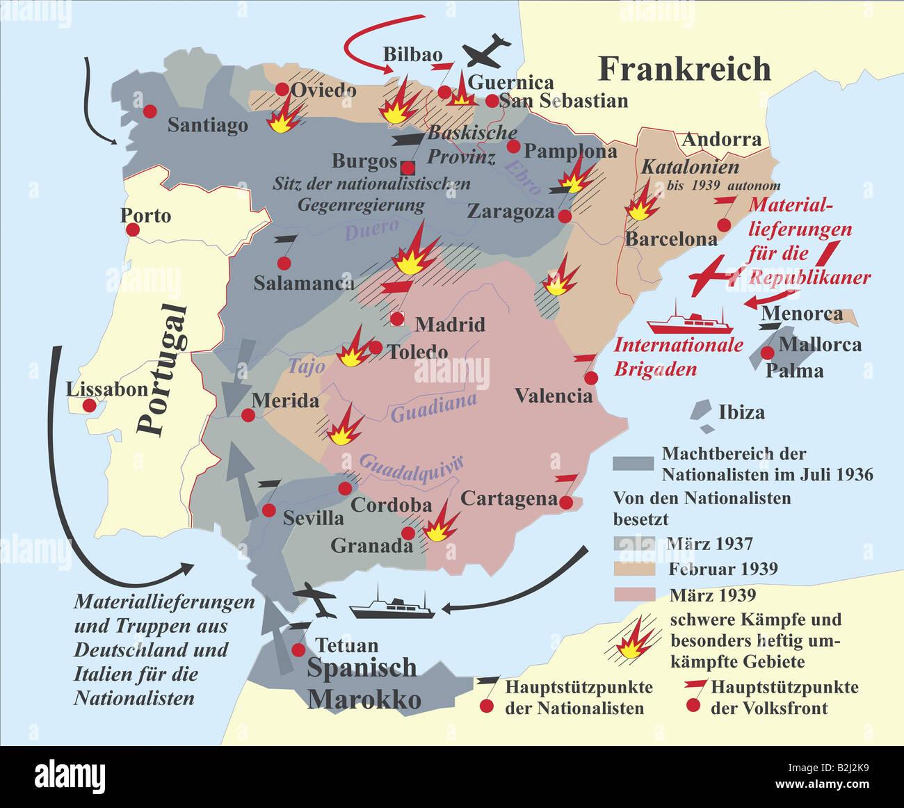 cartography, historical maps, Spain, Spanish Civil War 1936 - 1939 ...