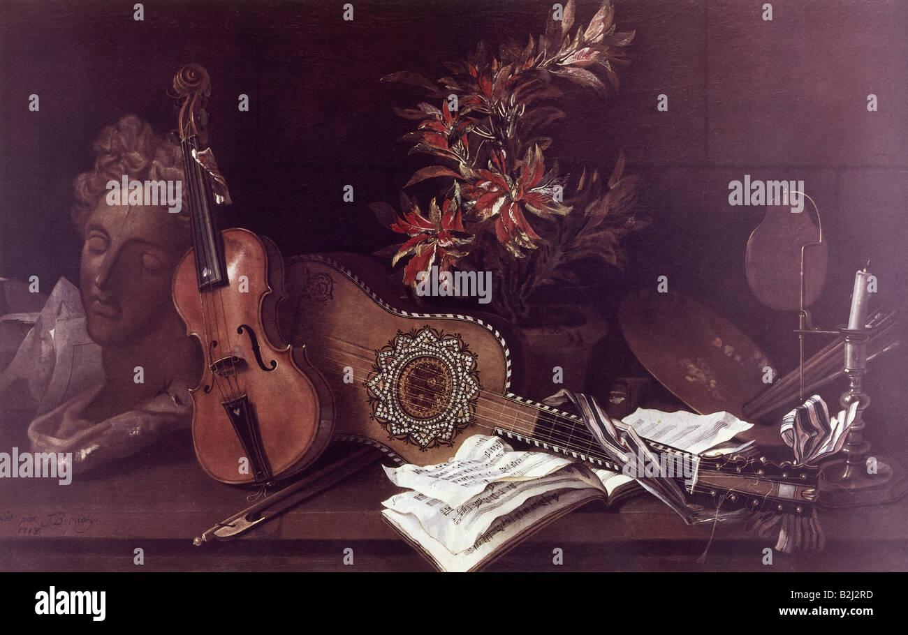 fine arts, Oudry, Jean Baptiste (1686 - 1755), painting 'atelier desk', 1713, Artist's Copyright has - Stock Image