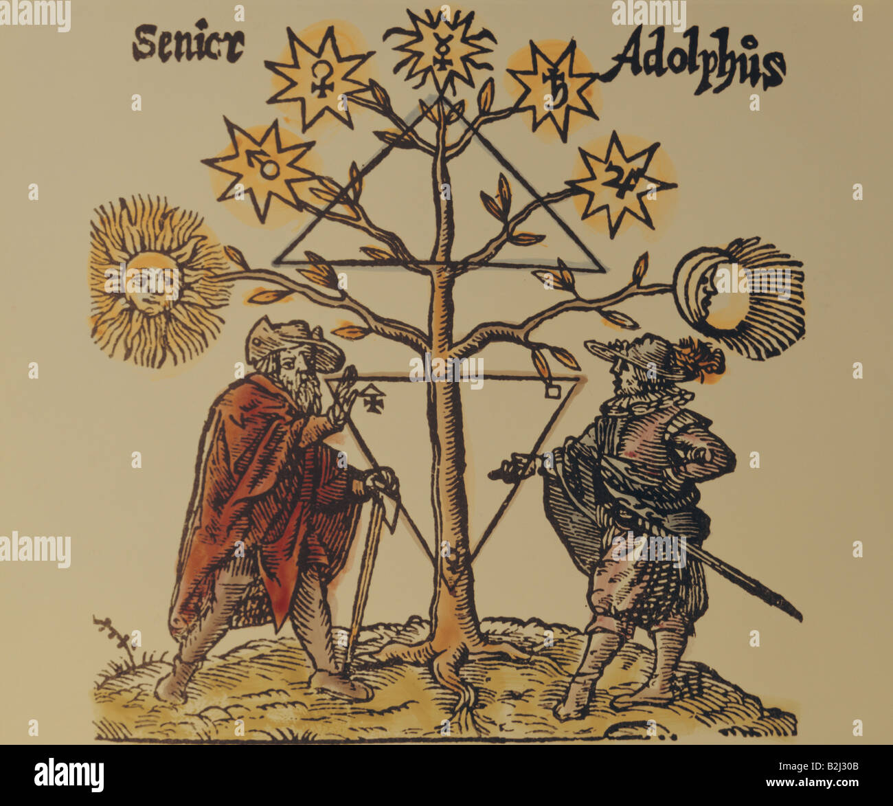 alchemy, allegory, Senior and Adolphus under the planet tree, coloured woodcut, Germany, 17th century, private collection, - Stock Image