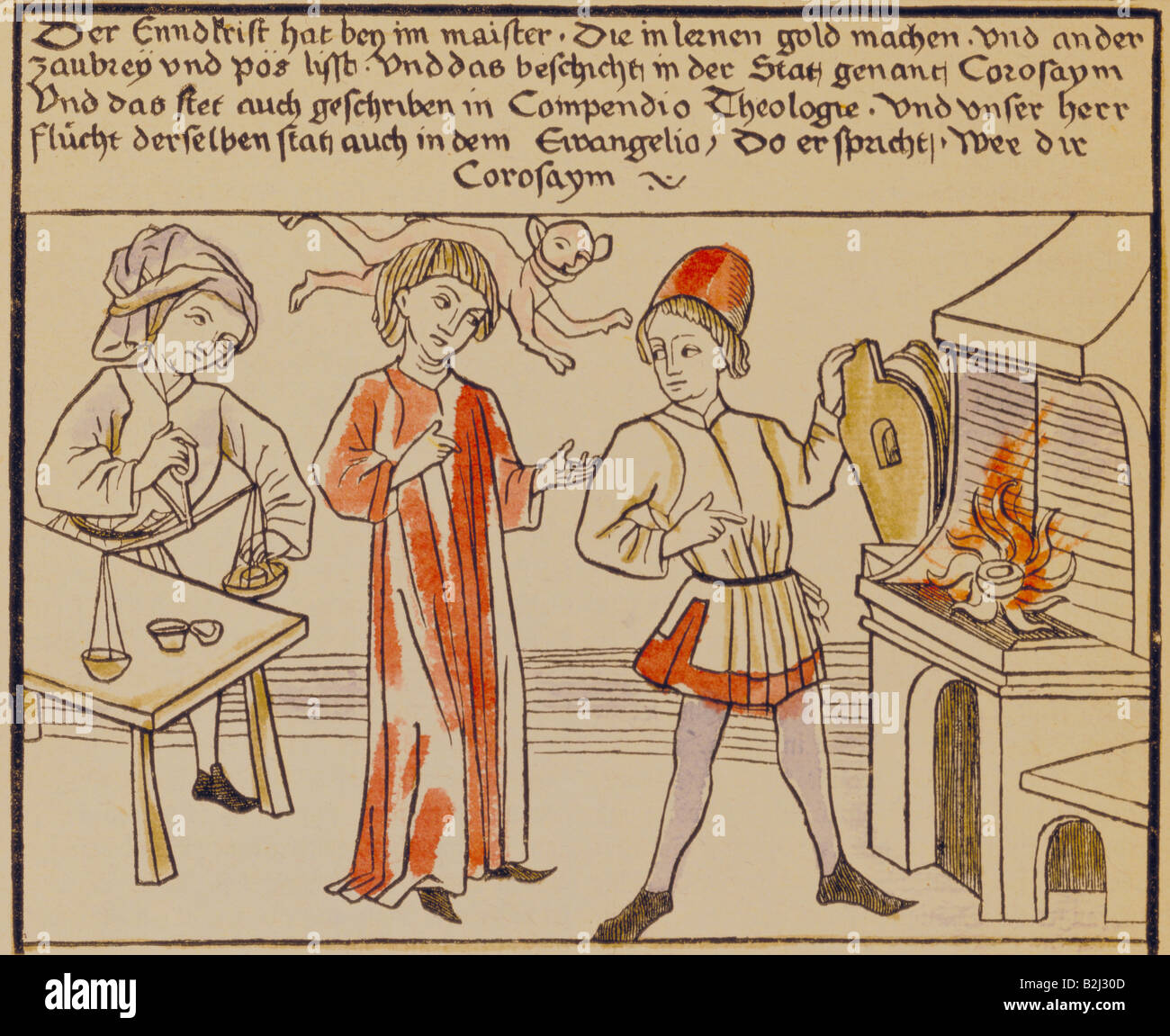 alchemy, allegory, antichrist and alchemist making gold, coloured woodcut, circa 1470, Additional-Rights-Clearances - Stock Image