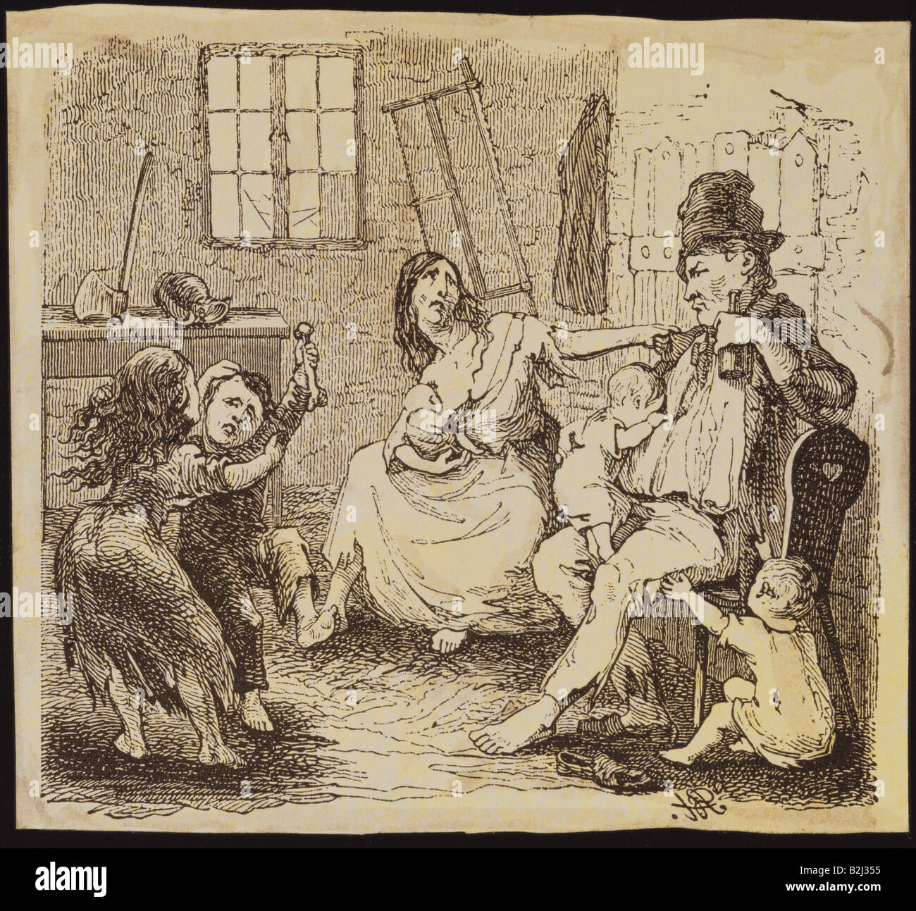 "people, misery / adversity, weaver family, illustration, from ""Illustrierte Zeitung"", Leipzig, Germany, 1845, private Stock Photo"