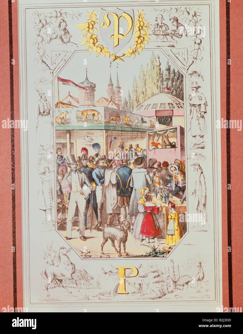 festivities, fairs, fair scene, illustrated alphabet, Germany, circa 1820, Additional-Rights-Clearances-NA - Stock Image
