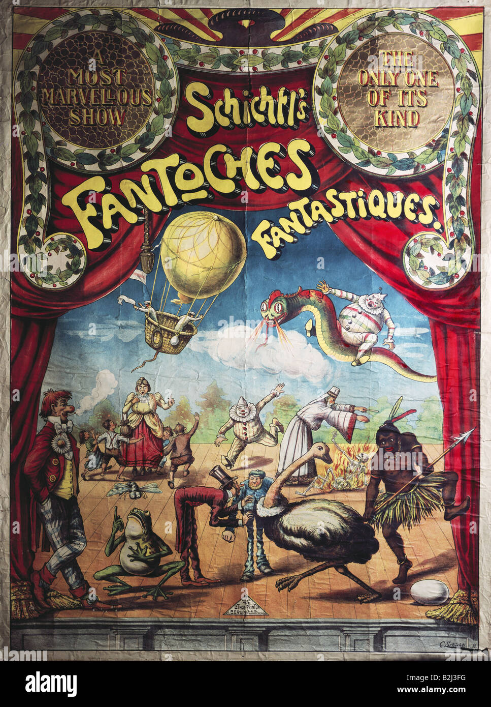 advertising, circus, poster, 'Schichtl`s Fantoches Fantastiques' (Schichtl`s fantastic puppets), Franz Xaver - Stock Image