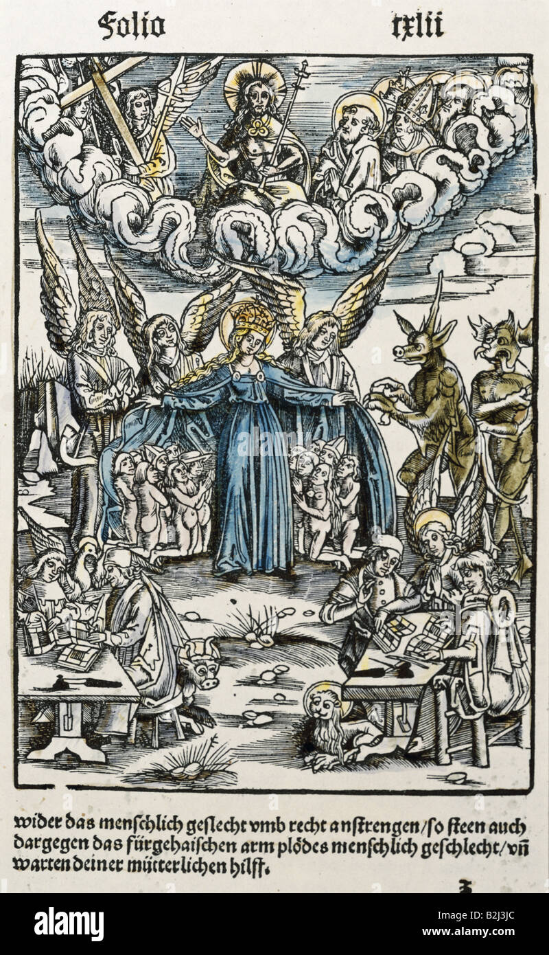 religion, Christianity, apocalypse / Last Judgement, graphic, woodcut, coloured, from 'Der Teufelsprozess vor - Stock Image