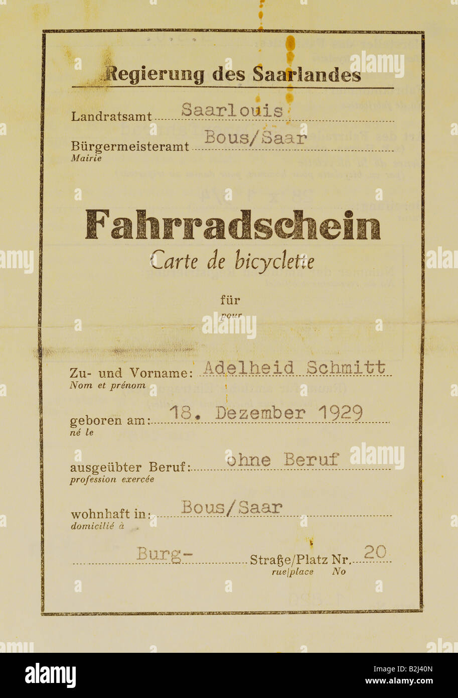 documents, bicycle riding licence, Saarland, France, 1952, Additional-Rights-Clearances-NA - Stock Image