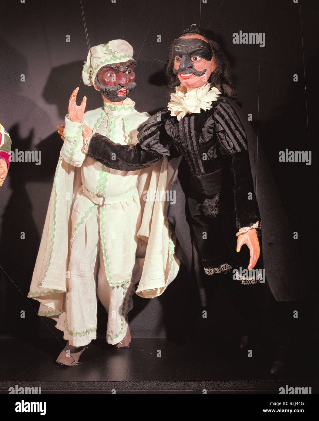 theatre, puppet theatre, marionettes, figures of Commedia dell´arte by Luigi Lupi, Turin, 19th century, Stadtmuseum, - Stock Image